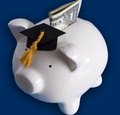 Piggy bank with grad cap
